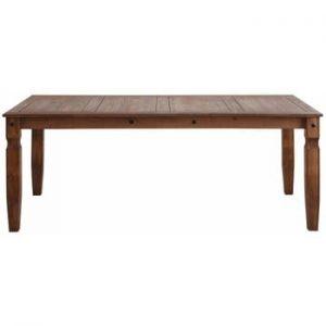 Masă dining din lemn masiv de pin Støraa Alfredo, 92 x 178 cm, maro închis