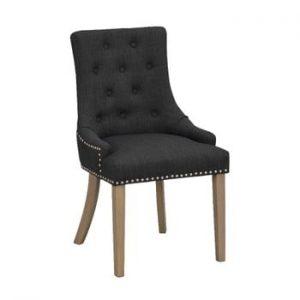 Scaun tapițat cu picioare maro Folke Vicky, negru