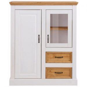 Dulap din lemn de pin cu 2 uși și 2 sertare Støraa Suzie, alb-maro