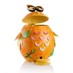 Coș de gunoi în formă de bufniță Brandani, portocaliu
