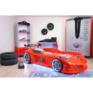 Pat în formă de automobil cu lumini LED pentru copii Speedy, 90 x 190 cm, roșu
