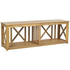 Bancă pentru grădină din lemn de acacia Safavieh Branco Nature
