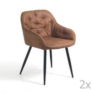 Set 2 scaune tapițate Tomasucci Lovely, maro