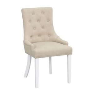Scaun tapițat cu picioare albe Folke Vicky, bej