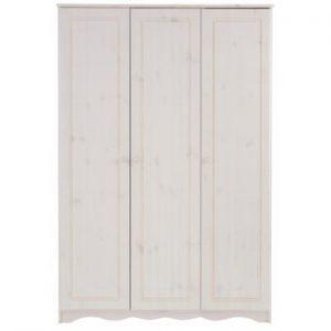 Șifonier din lemn de pin masiv cu 3 uși Støraa Amanda, alb