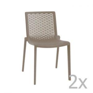 Set 2 scaune de grădină Resol Net-Kat, maro fistic