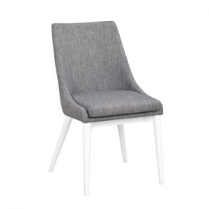 Scaun tapițat cu picioare albe Folke Bea, gri