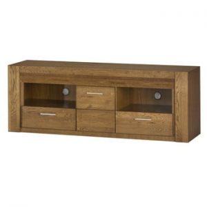 Comodă TV din lemn de stejar cu sertare și 2 uși Szynaka Meble Velvet