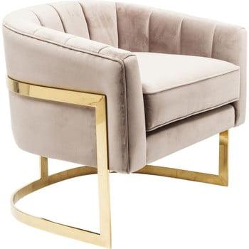 Fotoliu cu detalii aurii Kare Design Pure Elegance, bej