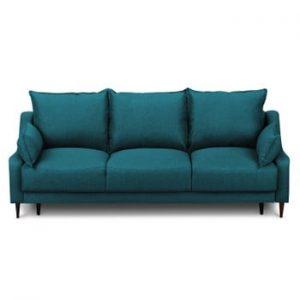 Canapea extensibilă cu 3 locuri și spațiu pentru depozitare Mazzini Sofas Ancolie, turcoaz