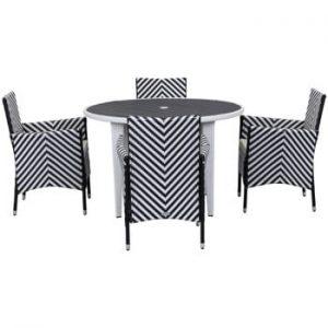 Set de mobilier pentru grădină Safavieh Malaga, negru alb
