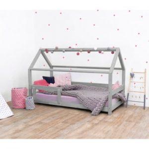 Pat pentru copii, din lemn de molid cu bariere de protecție laterale Benlemi Tery, 120 x 200 cm, gri