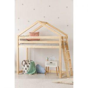 Cadru pat supraetajat din lemn de pin, în formă de căsuță Adeko Mila DMPBA, 70 x 140 cm