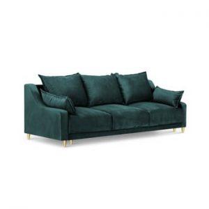 Canapea extensibilă cu 3 locuri și spațiu de depozitare Mazzini Sofas Pansy, albastru petrol