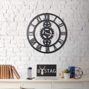 Ceas din metal pentru perete Industrial, 70 x 70 cm