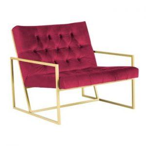 Fotoliu Mazzini Sofas BONO cu structură metalică, auriu - roz