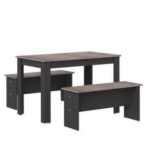 Set masă și 2 bănci cu blat în decor de beton Symbiosis Nice, negru