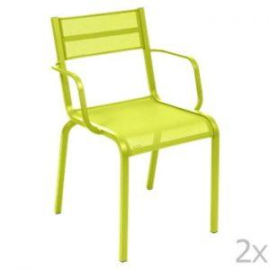 Set 2 scaune de grădină Fermob Oléron Arms, verde deschis