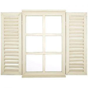 Oglindă cu obloane Esschert Design Okno, 59 x 39 cm, alb