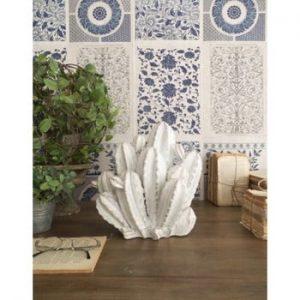 Statuetă din ceramică Orchidea Milano Cactus Summer In Greece, înălțime 28 cm, alb