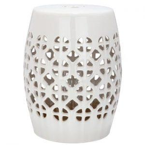 Măsuță din ceramică adecvată pentru exterior Safavieh Ravello, ø33cm, crem