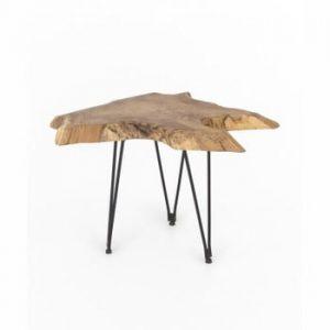 Masă de cafea cu blat din lemn de tec WOOX LIVING Natura, 50 x 50 cm