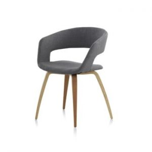 Scaun din lemn cu tapițerie Geese, gri