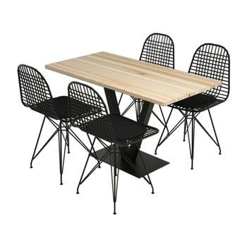 Set masă și 4 scaune din lemn de pin Sun Birch