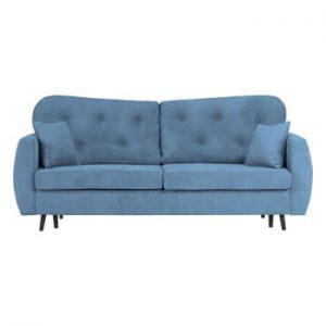 Canapea extensibilă cu 3 locuri și spațiu pentru depozitare Mazzini Sofas Popy, albastru