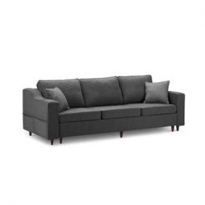 Canapea extensibilă cu 3 locuri și spațiu de depozitare Mazzini Sofas Narcisse, gri antracit