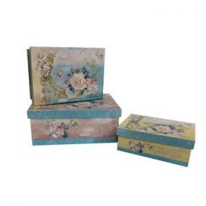 Set 3 cutii Antic Line Blue Vintage