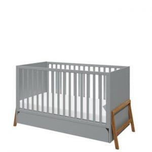 Pătuț pentru copii cu sertar BELLAMY Lotta,70x140cm, gri