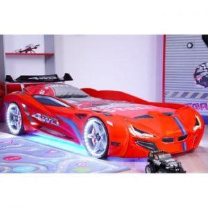 Pat în formă de automobil cu lumini LED pentru copii Fastero, 90 x 190 cm, roșu