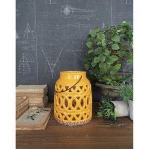 Felinar din ceramică Orchidea Milano, înălțime 23 cm, galben