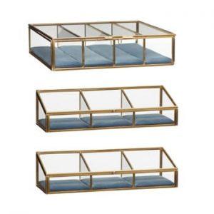 Set 3 cutii depozitare din sticlă cu alamă Hübsch Azulo