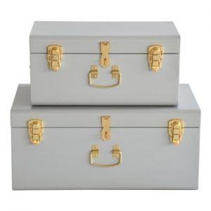Set 2 valize metalice RGE Stella Matteus, gri