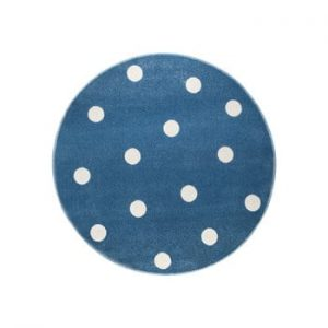 Covor rotund KICOTI Peas, ø 133 cm, albastru-alb