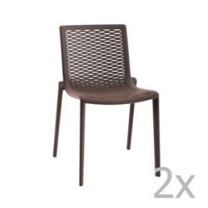 Set 2 scaune de grădină Resol Net-Kat, maro ciocolată