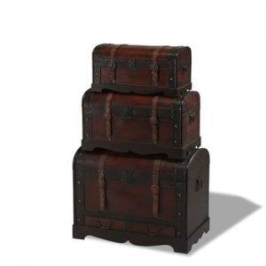 Set 3 cutii din lemn decorative Furnhouse Trunks Rustic