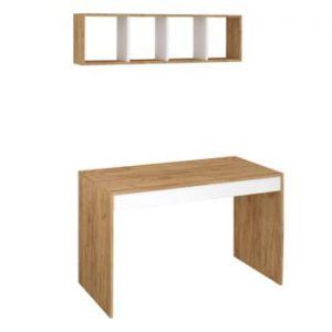 Set birou și raft cu aspect de lemn de stejar Ertel