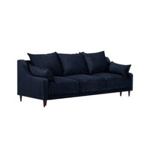 Canapea extensibilă cu 3 locuri și spațiu de depozitare Mazzini Sofas Freesia, albastru închis
