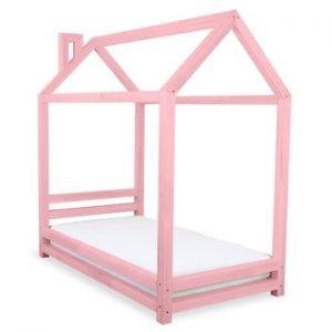 Pat din lemn de molid pentru copii Benlemi Happy,80x160cm, roz