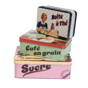 Set 3 cutii Antic Line Cafe en grain