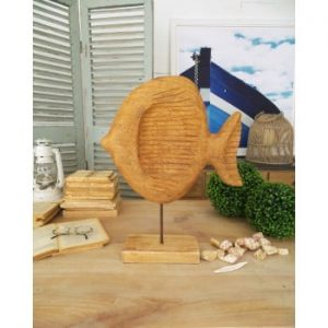 Decorațiune din lemn de mango Orchidea Milano Fish, înălțime 50 cm