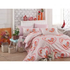 Lenjerie de pat cu cearșaf din bumbac Lovely Pink, 200 x 220 cm