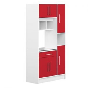Sistem depozitare pentru bucătărie cu rafturi Symbiosis Louise, roşu - alb