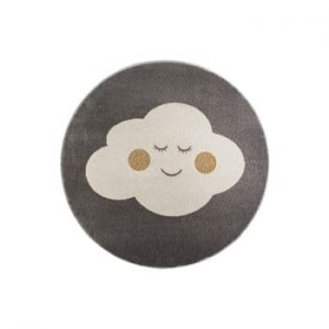 Covor rotund KICOTI Cloud, ø 133 cm, gri-alb