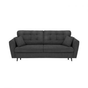 Canapea extensibilă cu 3 locuri și spațiu pentru depozitare Cosmopolitan Design Lyon, gri închis