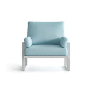 Fotoliu pentru exterior cu cotiere și picioare în nuanță deschisă Marie Claire Home Angie, albastru deschis