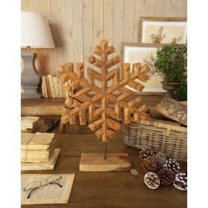 Decorațiune din lemn de mango Orchidea Milano Snowflake, înălțime 50 cm